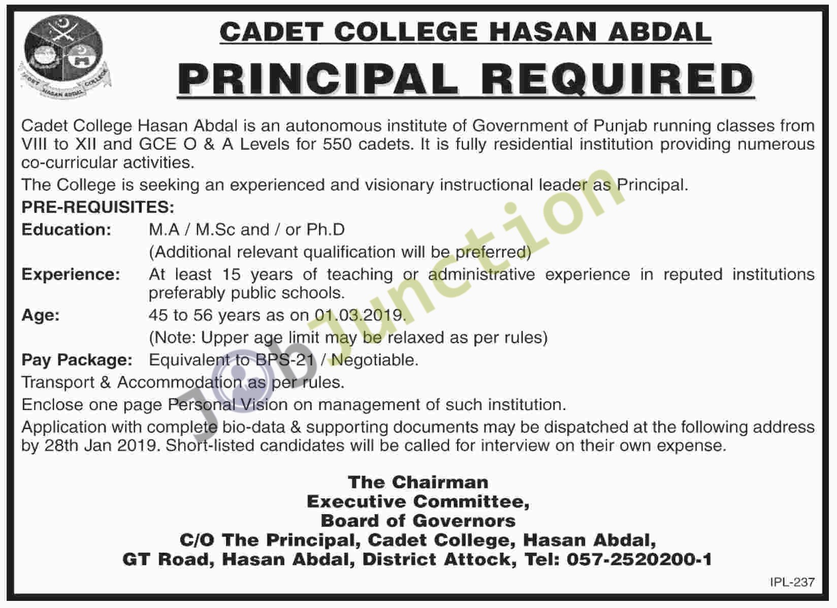Latest Principal Jobs In Cadet College Hasan Abdal