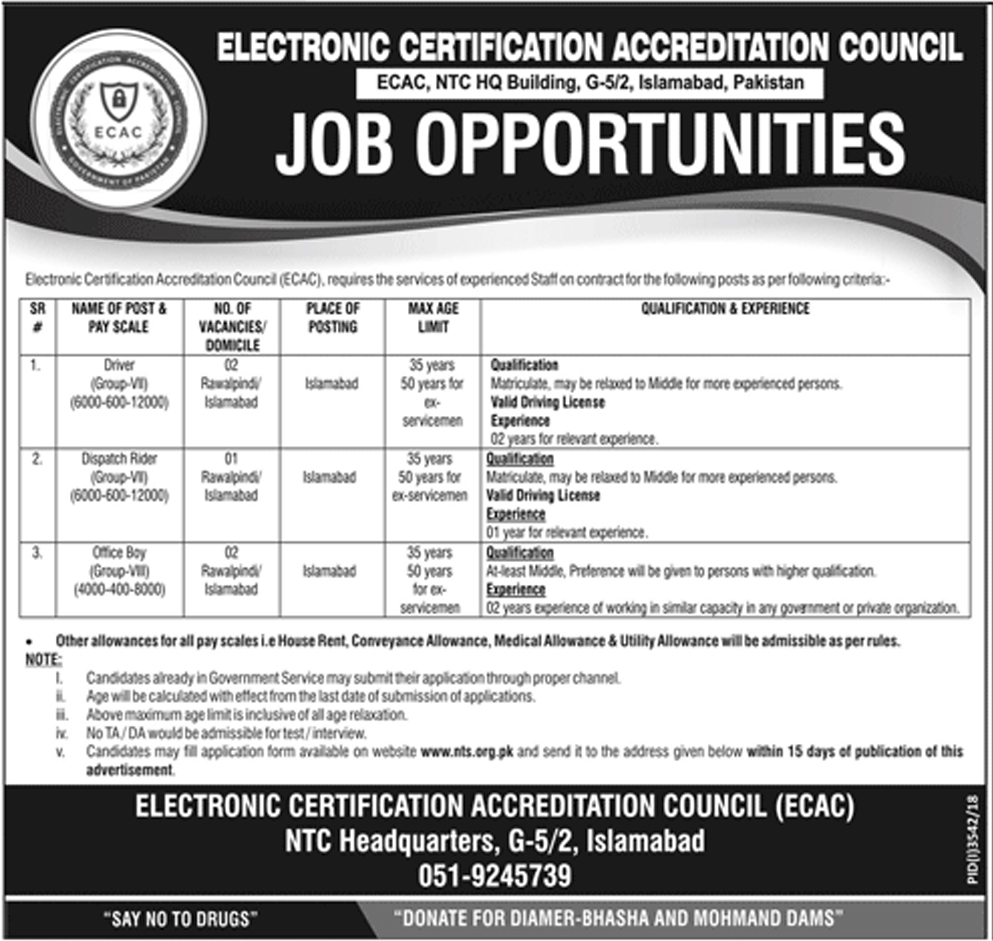 Jobs In Electronic Certification Accreditation Council Islamabad
